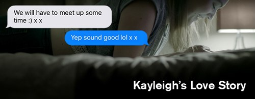 Girl (Kayleigh Haywood) texting on her phone in bed